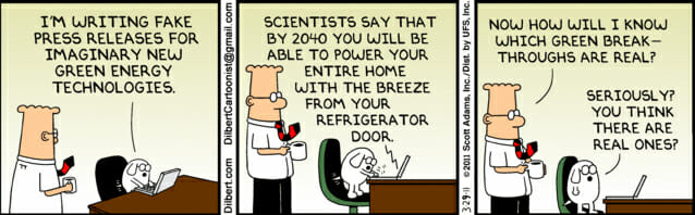 Dilbert cartoon mocking green energy.